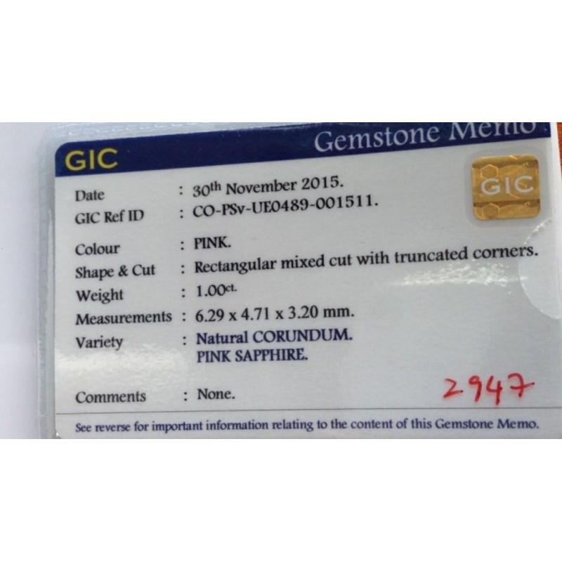 1 CTS | Natural Pink sapphire |Loose Gemstone|New| Sri Lanka
