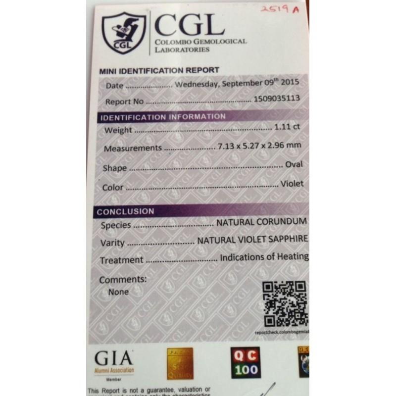 1.11 Carats Natural violet sapphire  Loose Gemstone New Certified  Sri Lanka