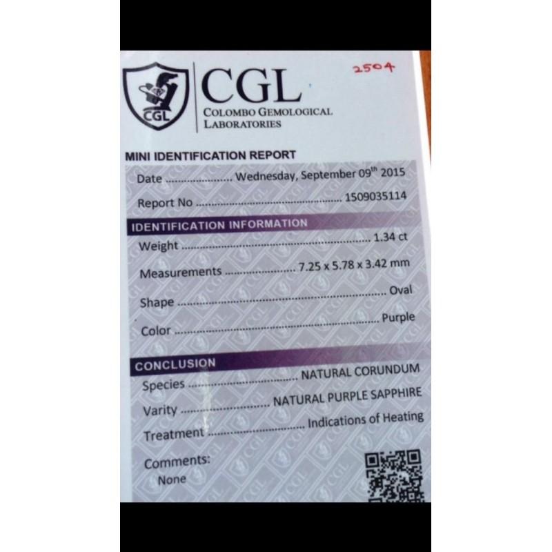 1.34 Carats Natural purple sapphire |Loose Gemstone|New Certified| Sri Lanka