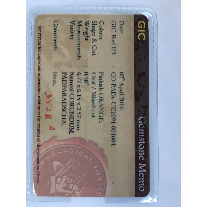0.98 Carats| Natural Pinkish orange Padparadscha|Loose Gemstone|New|Sri Lanka