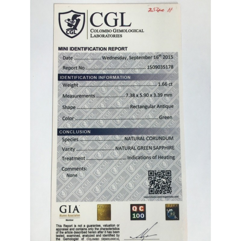 1.66 Carats|Natural Bluish Green Sapphire|Loose Gemstone|New|Sri Lanka