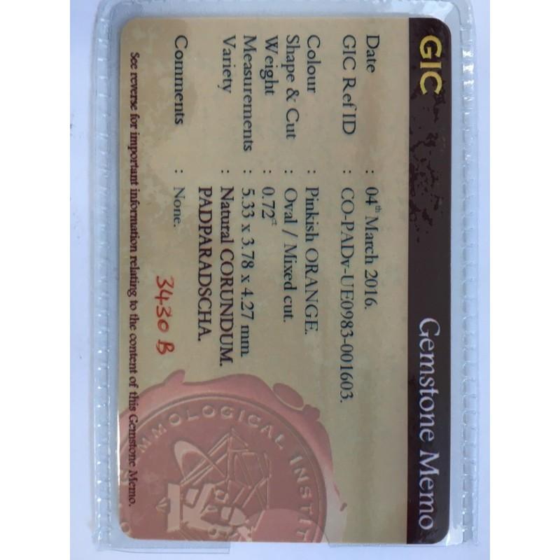 0.72 Carats|Natural Padparadscha|Loose Gemstone|Sri Lanka - New