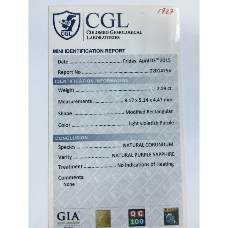 2.09 Carats Natural Unheated Whiteish Pink sapphire Certified|Sri Lanka