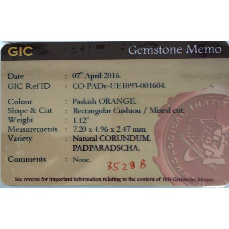 1.12 Carats Natural Padparadscha Loose Gemstone Sri Lanka - New