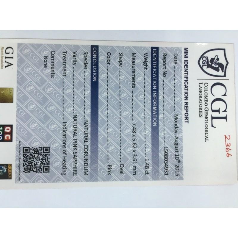 1.48 Carats | Natural Pink sapphire |Loose Gemstone|New Certified| Sri Lanka