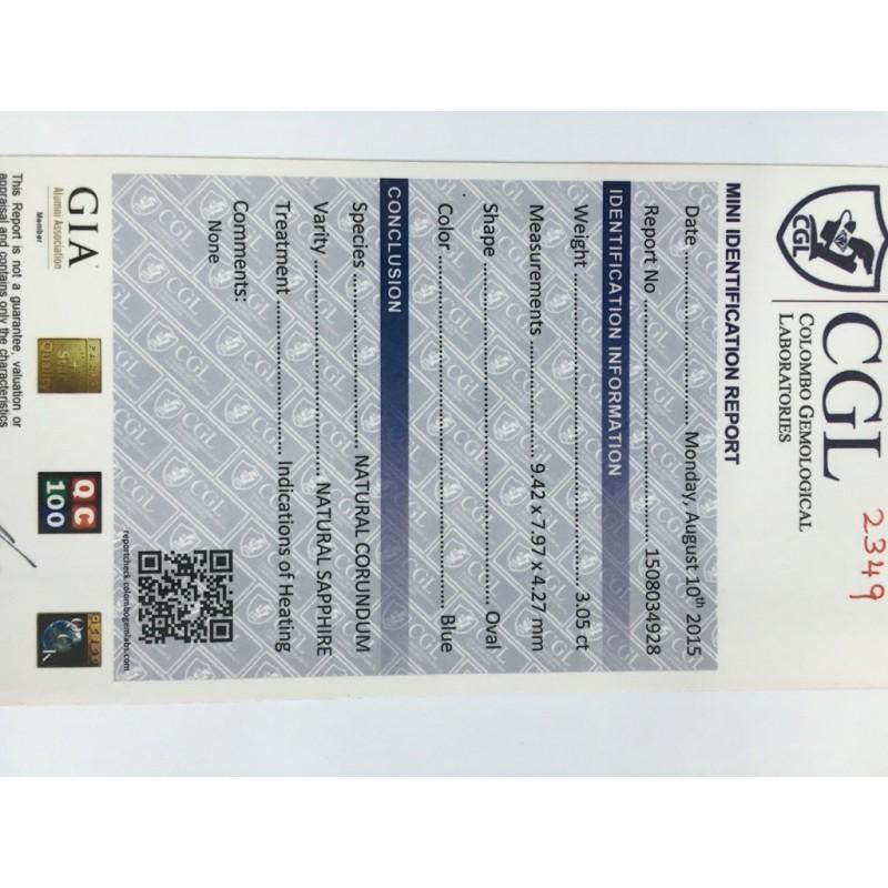 3.05 Carats | Natural Blue sapphire |Loose Gemstone|New Certified| Sri Lanka