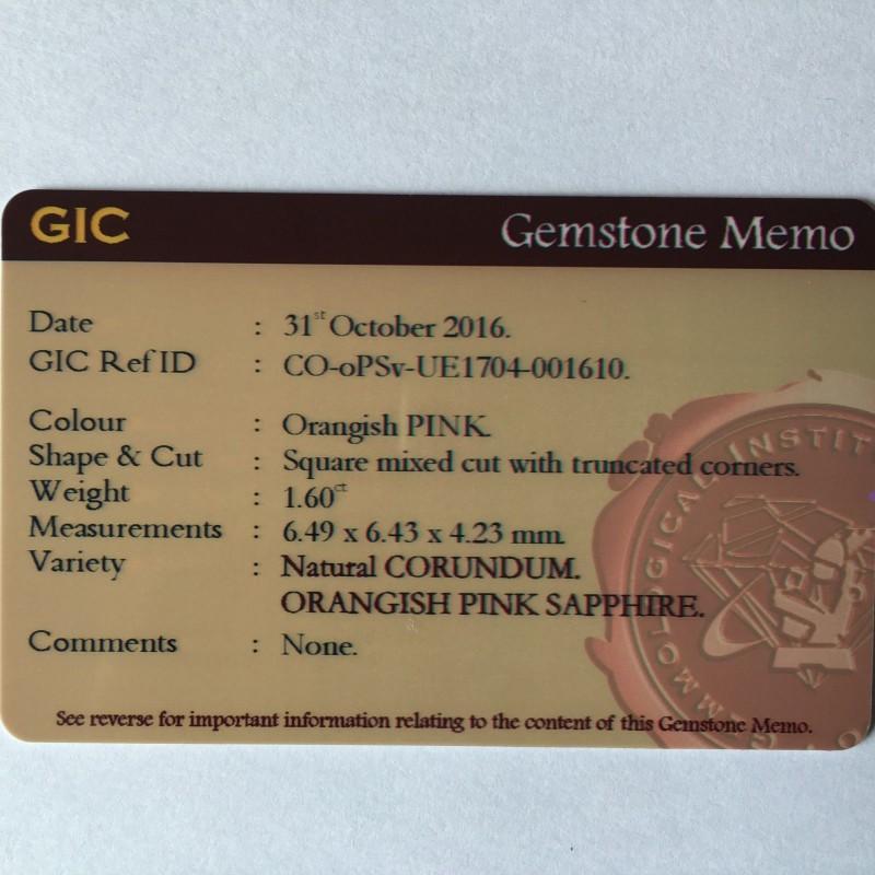 1.60Carats|Natural Orangish Pink sapphire|Loose Gemstone|Certified|Sri Lanka - New