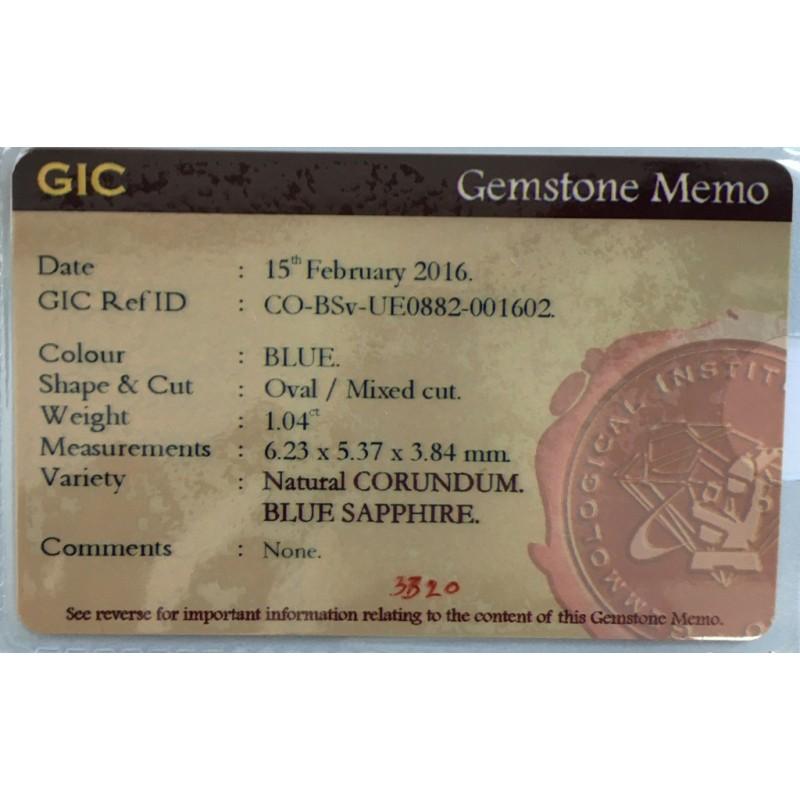 1.04 Carats | Natural Blue sapphire |Loose Gemstone|New Certified| Sri Lanka