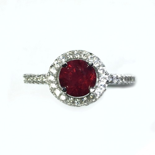 925 Sterling Silver Rhodium Plated Ring with 1.03 Carats Natural Spinel
