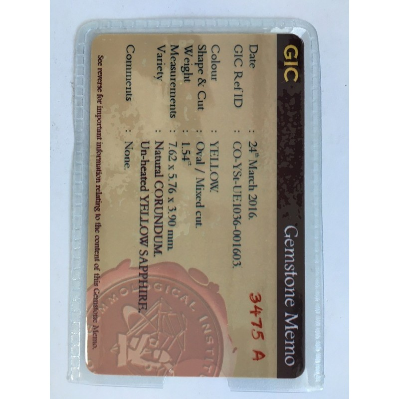 1.54 CTS | Natural Unheated yellow sapphire |New| Sri Lanka