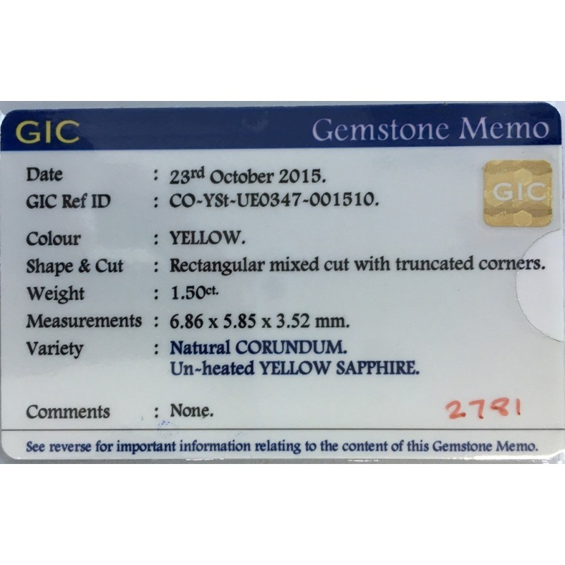 1.5 CTS | Natural Unheated Yellow sapphire |Loose Gemstone|New| Sri Lanka