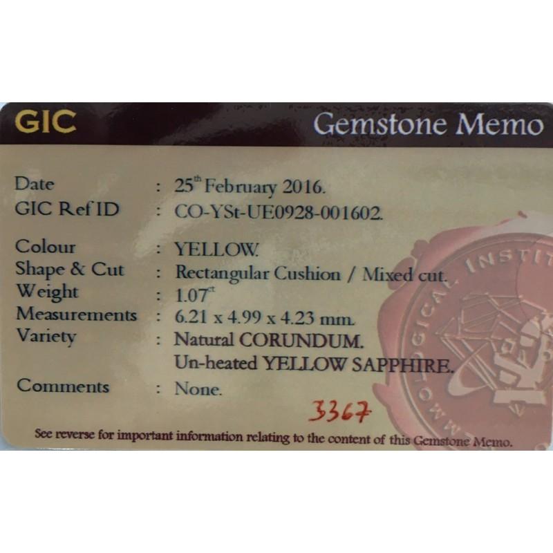 1.07 CTS   Natural Unheated Yellow sapphire  Loose Gemstone New  Sri Lanka